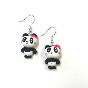 Other - Girl Panda Polymer Clay Earrings